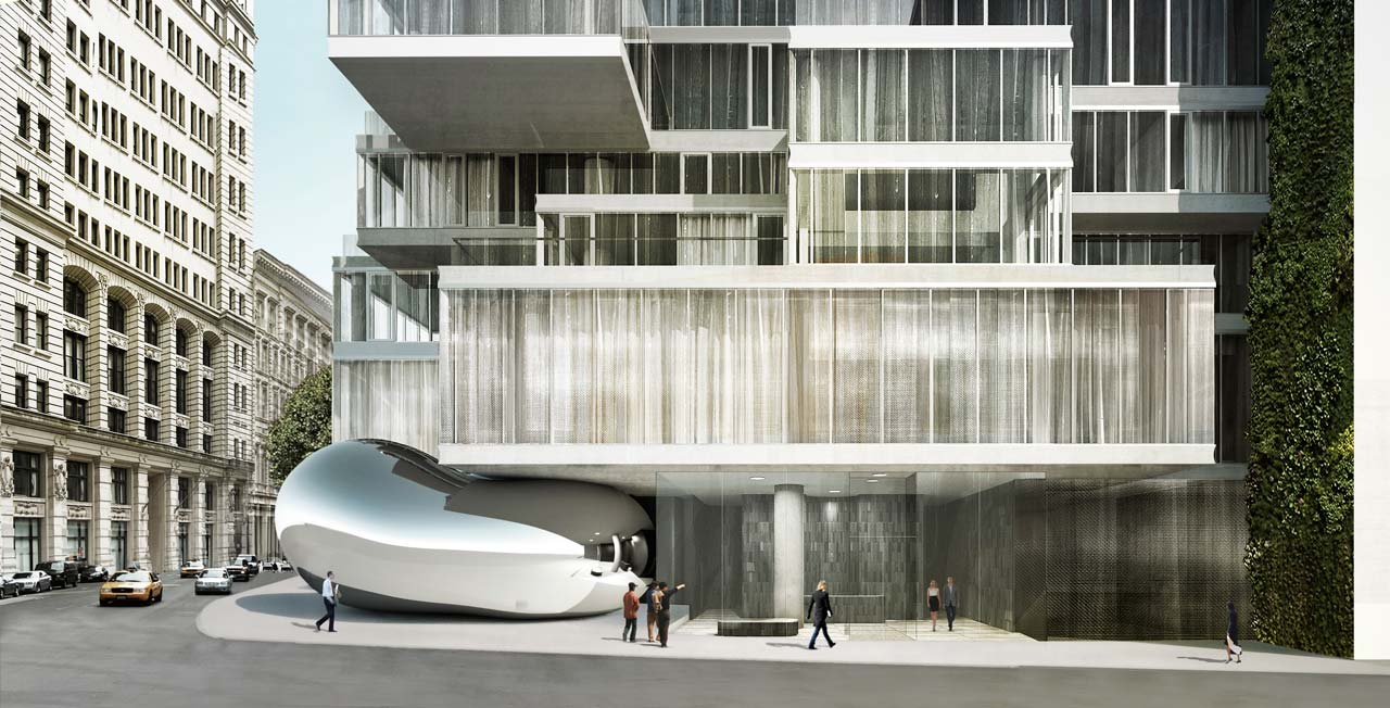 Rendering of Anish Kapoor sculpture at the base of the 56 Leonard tower